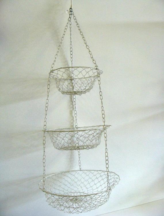 Vintage Metal Wire Hanging Basket /White Enamel Coated 3 Tier Metal Wire Hanging Baskets