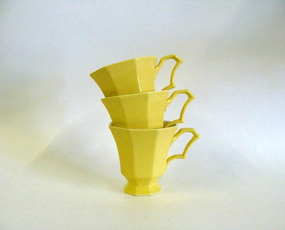 Vintage Yellow Coffee Tea Cups / Independence Ironstone Interpace Japan / Set of Three