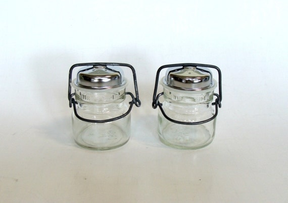 Clear Glass Mason Canning Jar Salt And Pepper Shakers With