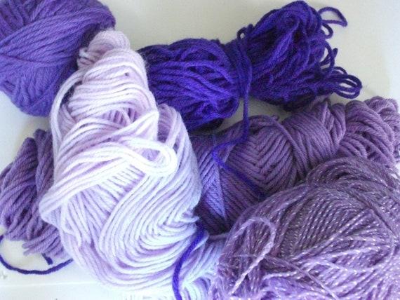 DESTASH-Shades of PURPLE-5 Partial Skeins-Lot Purple 1