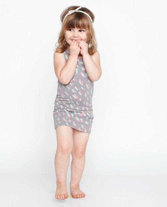 Cheetah Tank Dress in Mint/Pink on Grey