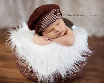 Newborn Newsboy Cap-Benjamin Newsboy-Driver Cap-Baby Boy Photo Prop