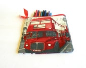 London Cosmetic Pouch, Pencil Case, Red and Gray Make up Bag, London Bus, Bag Organizer