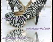 Crystal Handmade swarovski Diamond Zebra High Heel Bridal wedding Shoes