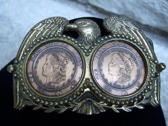 Vintage Ornate Brass Eagle & Coin Souvenir Buckle c 1980