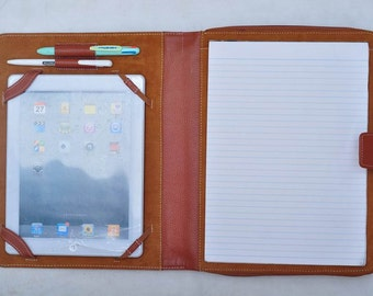 Item No: 1014 Top grain leather Multi-functional portfolio & case for iPad,Tablet PC,laptop and notebook PC in Khaki