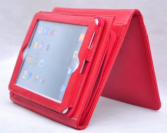 Item No: 8011 Multi-functional portfolio as well as tablet and iPad (or Galaxy Tab) case and stand in  red and coffee