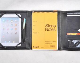 ipad pro 12.9 genuine Leather Portfolio  ipad case- Document Folder -  Leather Organizer - Notepad Cover - valentine gift Triple fold & case