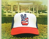 American Flag PEACE SIGN Vintage 70s Patch stitched on Snapback Trucker Cap / Hat