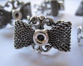 8 Silver Filigree Adjustable Bow Ring Blanks Ring Bases with a Small Gluing Well Ornate Ring Blanks Bow Ring Bases (Lot of 10) by BySupply