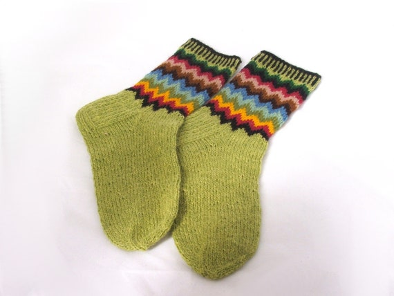 Pure wool SOCKS  with wave decoration -  gift WRAPPING for FREE