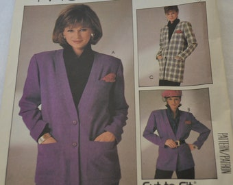 Vintage 1980's Easy McCall's Misses' Cardigan Pattern 2727 - UNCUT - Size C Jacket Business Attire