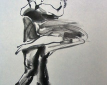 Ink Painting of Tango Dancers Spinning Catalogue 156