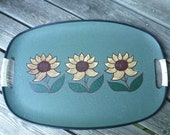 Vintage 60s serving tray - sunflowers on teal