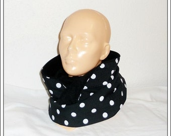 Scarf/loop/Circleschal - black and white, spotted,.