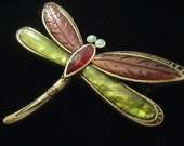 Vintage Liz Cliaborne Dragonfly Brooch Antique Gold tone withGreen & Brown Wings, Rhinestone Eyes and Body