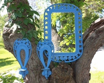 Vintage Periwinkle mirror and sconces - Mid Century - Scroll Design - Beach - Boho
