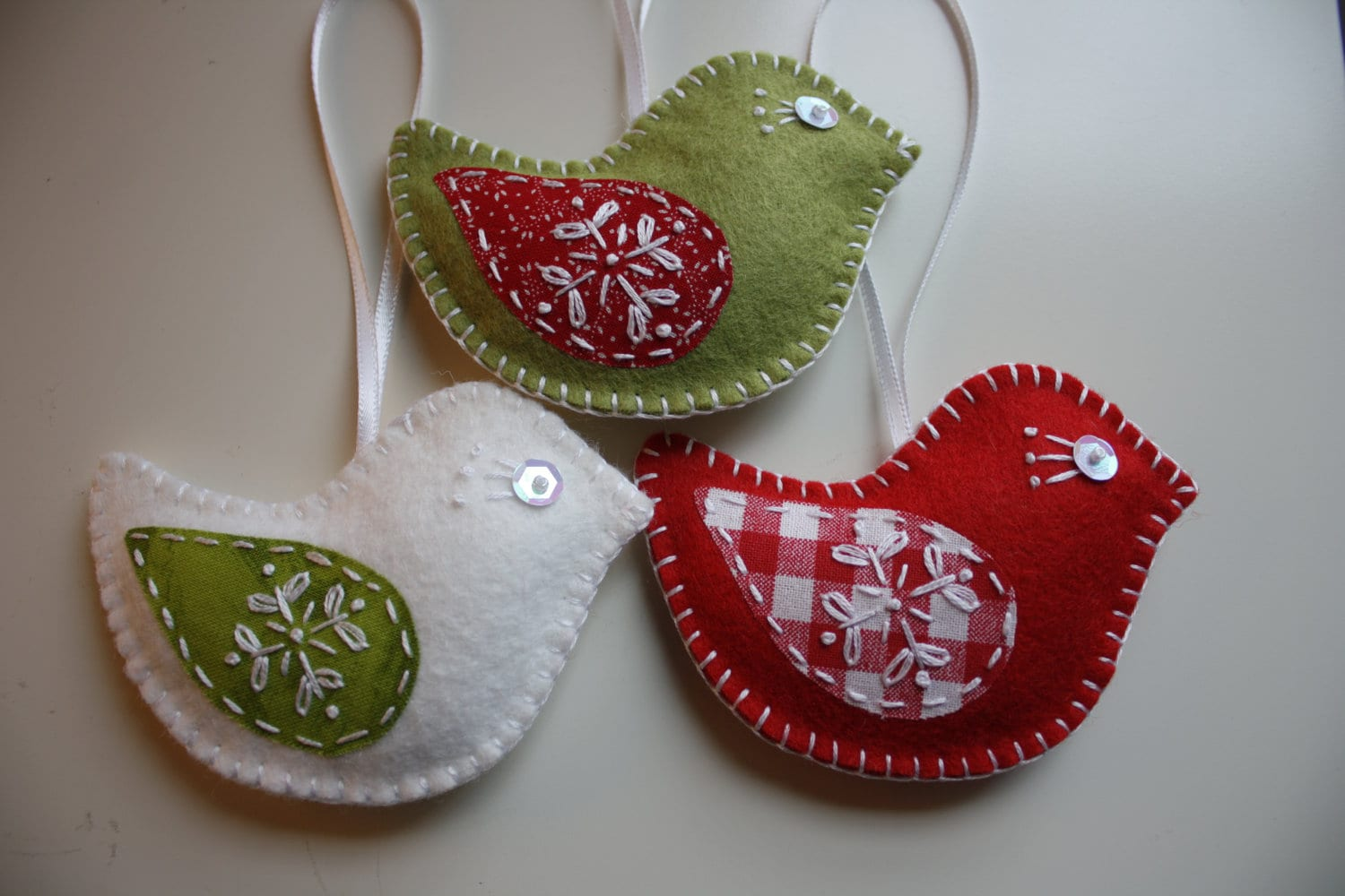 Christmas felt ornaments - Felt Bird Christmas Ornaments Set Of 3