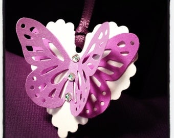 Gift Tag, label - butterfly, crystals, satin ribbon