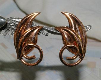 Vintage Copper Renoir Earrings - Double Leaves - Feminine and Lovely - 1950's