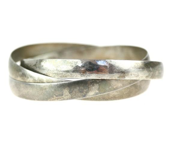 Vintage Silver Interlocking Cuff Bracelets / Stacking Bangles