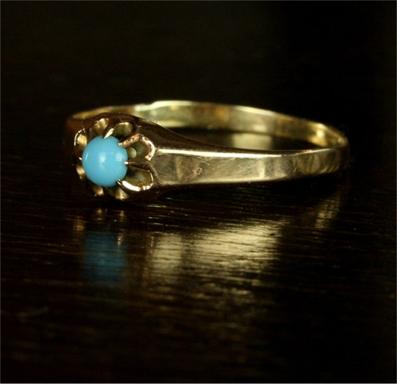 Victorian Turquoise Flower Engagement Ring / 10k Yellow Gold