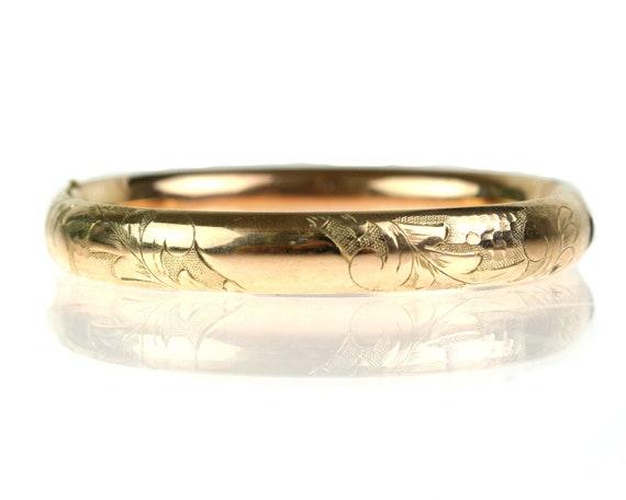 Victorian Etched Floral Hinged Bangle Bracelet / Rose Gold Fill