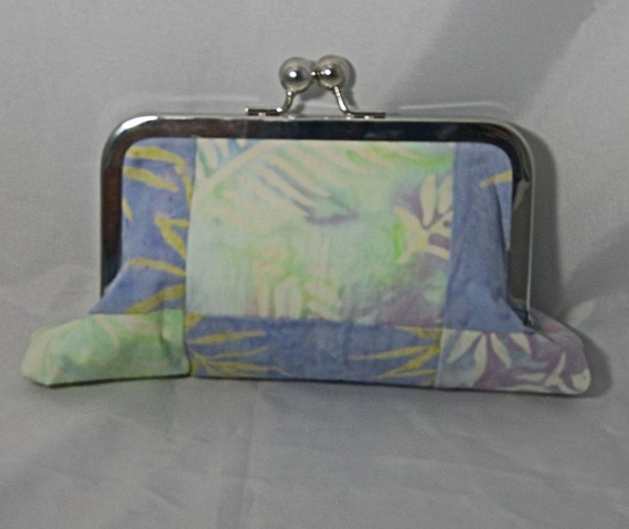 Pieced batik lavender and chartreuse small clutch with batik lining