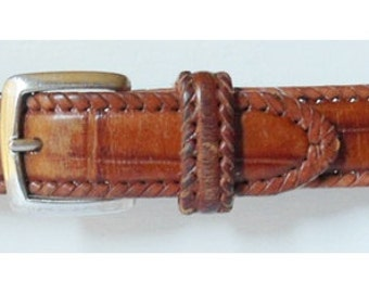 The TERRITORY AHEAD: Vintage Genuine Brown Croc Style Leather Belt - Size 32 - Westerm Style