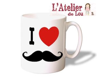 I heart Mustache breakfast Mug
