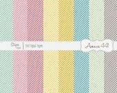 Tropical Diagonal Striped Digital Scrapbook Papers