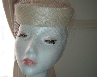 Vintage Style - Veiled Pillbox Bridal Hat