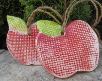 Two Ceramic Apples in Bright Red and Green Textured Tiles Home and Kitchen Decor