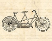 INSTANT DOWNLOAD Tandem Bike Bicycle for Two Digital Download for Iron on Transfer Papercrafts Pillows T-Shirts Tote Bags Burlap No 02059