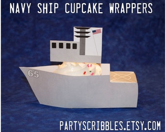 Navy Ship Cupcake Wrappers with Bridge Toppers