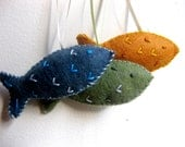 Fish Christmas ornaments in gold green and blue felt  - handmade felt ornaments