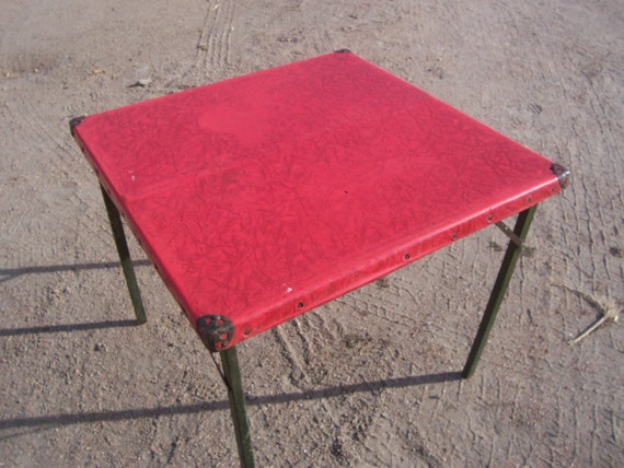 Antique Samson Folding Card Table With Wooden Legs