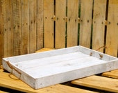 Reclaimed Pallet Wood Furniture - White Rustic Serving Tray