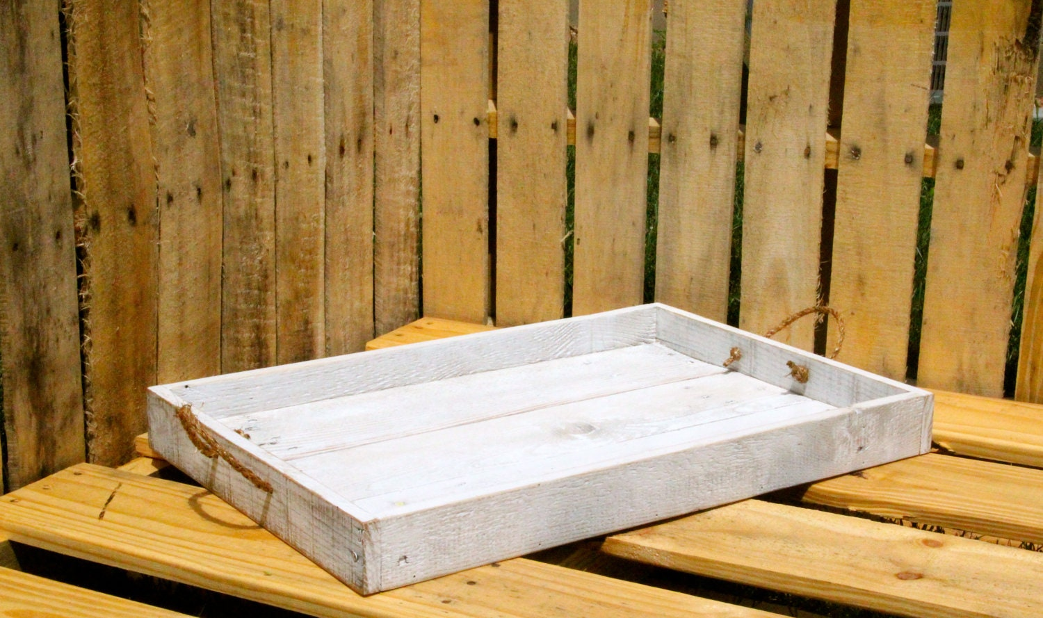 Reclaimed Pallet Wood Furniture White Rustic Serving Tray