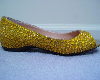 Hand Made Yellow Rhinestone Peep Flats Shoes