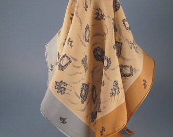 Vintage Silk Scarf, Tan and Blue