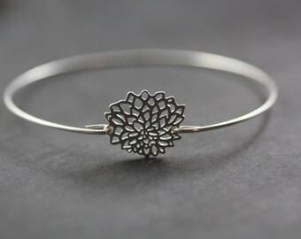 Lotus Bangle, Yoga Bracelet, Yoga Bangle, Silver flower Bracelet, Silver Bangle, Bloom, Wedding Gift, Bridesmaids Gift, Christmas