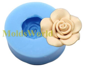 A393 Silicone Mold Rose Flower Cabochon 1 Cavity Flexible Mould for Polymer Clay Resin Candy Fimo Super Sculpey Crafts Jewelry