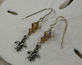 SALE Fleur de lis Earrings, Brown Crystal Earrings