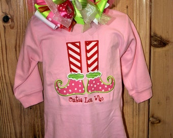 Cutie Lou Who Grinch inspired Christmas outfit One piece top or childrens or toddler shirt