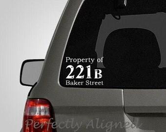 Car Decal - Sherlock Holmes Property Of 221B Baker Street  Car Decal
