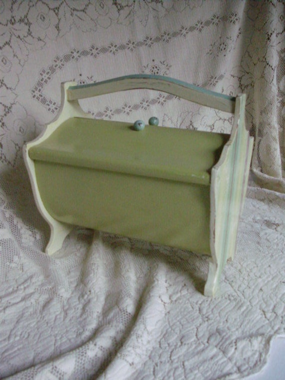 Vintage Wood Sewing Box Green Sea Glass Blue Light Ivory