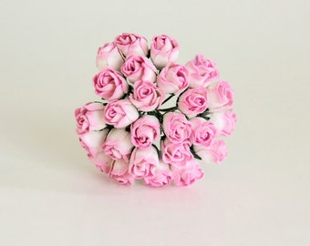 25 pcs - White & Pink Mulberry Paper Semiopen Rose buds