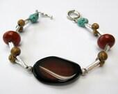 Southwest Style Silver Beaded Agate Howlite Bracelet