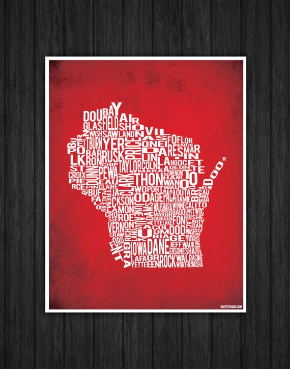 Wisconsin by County - 11x14 inches